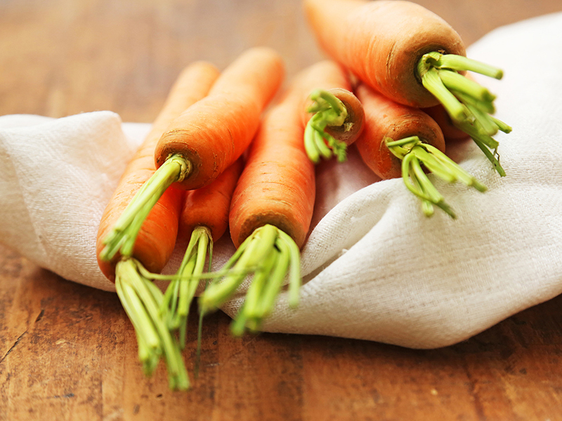 Carrots contain a lot of vitamin A.